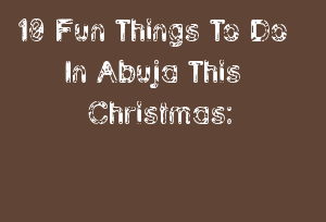 10 Fun Things To Do In Abuja This Christmas: