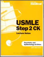 USMLE Step 2 CK Lecture Notes on Psychiatry and Epidemiology