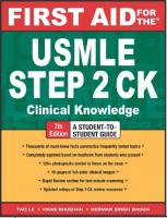 First Aid for the USMLE Step 2 CK Clinical Knowledge 7th Edition by Tao Le, Vikas Bhushan and Herman Singh Bagga.pdf